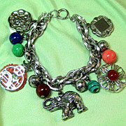 Asian Theme Silver-tone Chunky Charm Bracelet Signed Germany