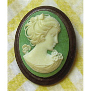 SALE Green and White Cameo on Wood Base