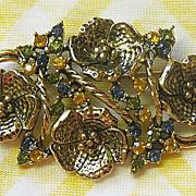 Hattie Carnegie Flower Pin with Rhinestones