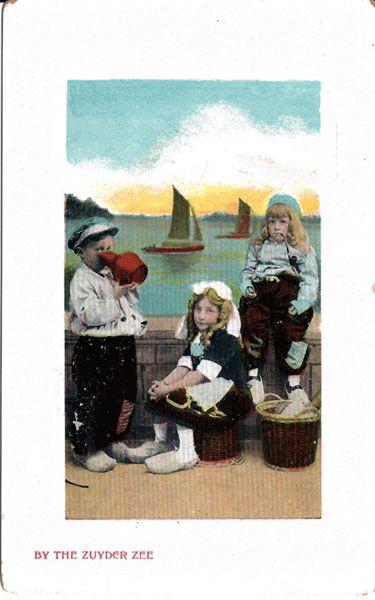 Postcard of Dutch Children by the Zuyder Zee