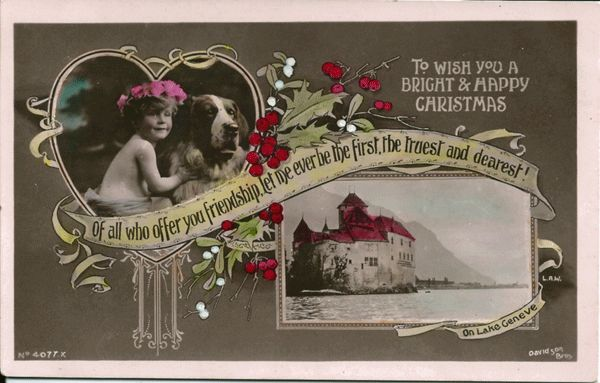 Real Photo Postcard of Girl & Dog to Wish a Bright & Happy Christmas
