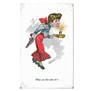 Vintage Postcard of Pistol Packing Momma