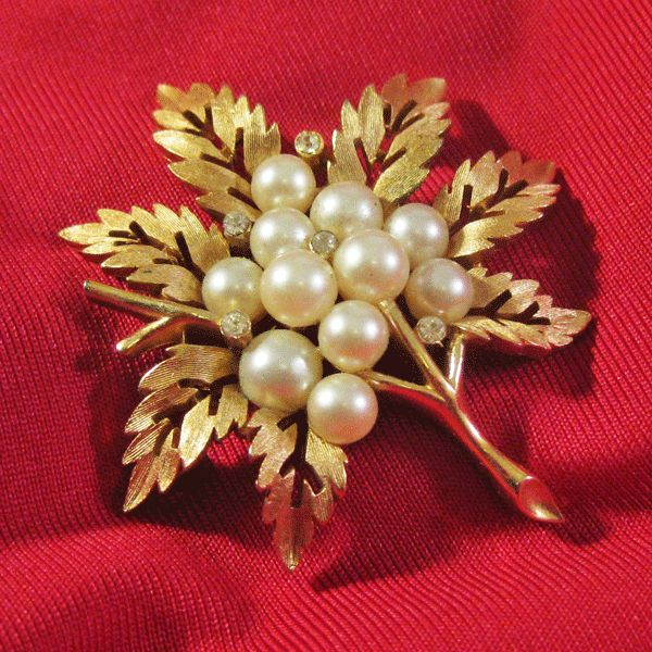 Crown Trifari Leaf Pin with Simulated Pearls