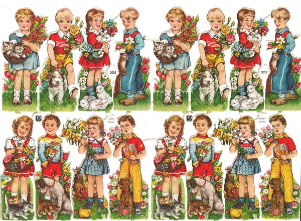 Vintage Die Cuts of Children with Animals and Flowers