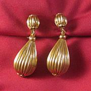 SOLD Lewis Segal California Gold-tone Drop Clip Earrings
