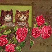 Winsch Embossed Postcard of Two Sweet Kittens Cats in a Picture Frame