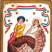Thanksgiving Postcard of Two Children  Walking a Turkey