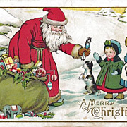Santa Postcard - Giving Toys to Little Girls