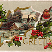 Christmas Greetings Postcard with Lovey Country Scene Cameo and Pretty Birds