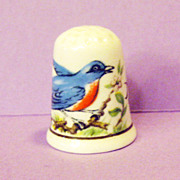 American Blue Bird Thimble - Fine Bone China Made in England