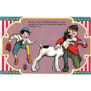 SOLD Fourth of July Postcard - Naughty Boys with Firecrackers