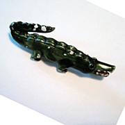 Alligator Pin Brooch Green Enameled