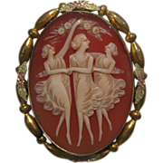 SOLD Three Graces Shell Cameo Beautifully Carved Gold-tone Setting