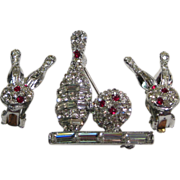 Bowling Pin and Earring Set Rhinestone Studded