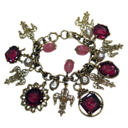 SALE Charm Bracelet with Red Glass Intaglio Cameo Charms Fleur de Les Pink Stones and Simulate