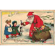 Old World Santa Postcard Children Toys Snow Christmas