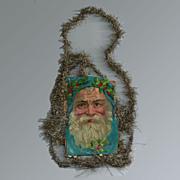 SALE Victorian Die-cut Santa  Gold-tone Tinsel Ornament / Vintage Tinsel Ornament / Vintage Ch