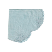 Dainty Blue Scalloped Round Hankie Embroidery and Cutwork