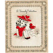 A Friendly Valentine Card Sweet Girl with Red Bird