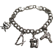 Sterling Charm Bracelet Four Charms for My Lady