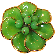 Crown Trifari Green Poured Glass Dogwood Blossoms Pin****