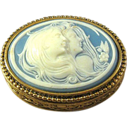 SOLD Estee Lauder Solid Perfume Compact Box with Two Cameos