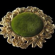 SOLD Ormolu Gilt Pincushion Green Velvet