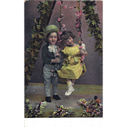 SALE Real Photo Postcard Two Children Hand Tinted