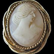 SALE Shell Cameo Brooch Pin Petite Gold-tone Setting