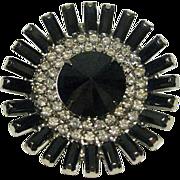 Hematite and Clear Rhinestone Round Pin / Dimensional Pin / Fashion Pin / Vintage Jewelry / Vi