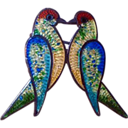 Lovebirds Pin Mexico Artist JF Sterling and Enamel
