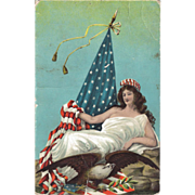 Lady Liberty Postcard with Flag and Eagle