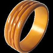 Butterscotch Bakelite Stacked Rings Carved Bracelet / Vintage Bakelite