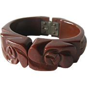 SALE Bakelite Milk Chocolate Deeply Carved Clamper Bracelet