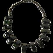 SOLD Bakelite Necklace Cream Spinach Carved Art Deco Drops / Vintage Bakelite / Collectible Ba
