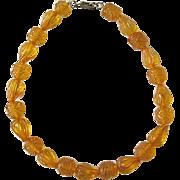 Bakelite Carved Necklace / Light Amber Color / Apple Juice Color /Carved Bakelite Beads / Vint