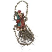 Victorian Santa Die-cut Tinsel Ornament / Vintage Tinsel Ornament / Victorian Ornament / Vinta