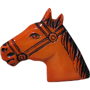Vintage Horse Head Pin  / Butterscotch Color Plastic Horse Pin / Collectible Pin / Vintage Pin