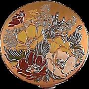 Vintage Hampden Compact Enameled Flowers / Hampden Compact / Enameled Flowers / Vintage Compac