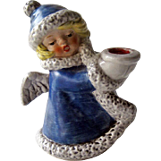 Goebel Angel Figurine / Goebel Angel with Candle Holder / Blue Coat Angel / Christmas Decor /