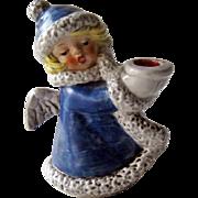 Goebel Angel Figurine / Goebel Angel with Candle Holder / Blue Coat Angel / Christmas Decor /