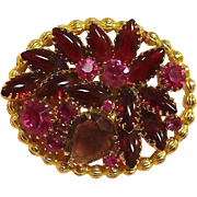 Amethyst, Hot Pink and Ruby Red Colored Stone Pin / Exceptional Vinatage Pin / Collectible Pin