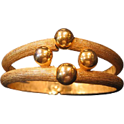 Crown Trifari Gold-tone Clamper Bracelet / Stylish and Elegant Trifari Bracelet / Vintage Jewe