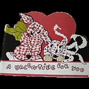 Gingham Dog Calico Cat Valentine Card / Valentine Booklet / Vintage Valentine