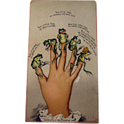 This Little Frog Trade Card / Little Frog Ditty / Frogs on Fingers / Vintage Paper / Ephemera