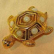 Sweet Turtle Pin with Milk Glass Stones