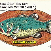 Humorous Fishing Postcard by Bob Petley Copyright 1953