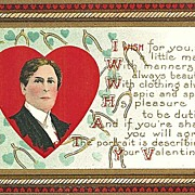 SALE Valentine Postcard with Handsome Young Gentleman and Wishbones