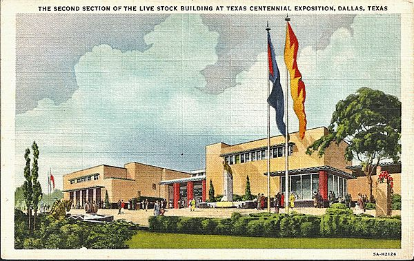Postcard of The Second Section of the Livestock Building at Texas Centennial Exposition, Dallas, Texas
