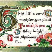 Birthday Postcard with Flowers and Verse